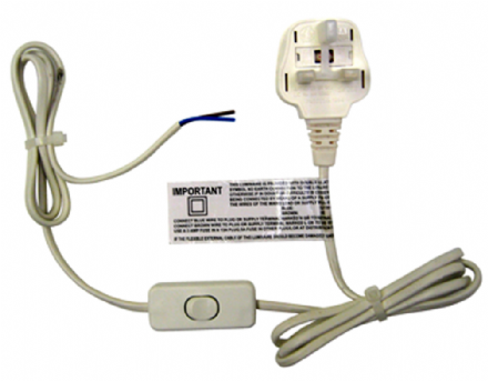 Switched White Cable with Plug-  (use with lamp holders)